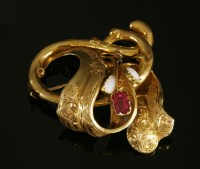 Lot 38-A Victorian gold garnet-topped doublet and opal spray brooch