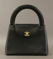 Lot 1089 - A Chanel black caviar lambskin leather 'Kelly' style handbag