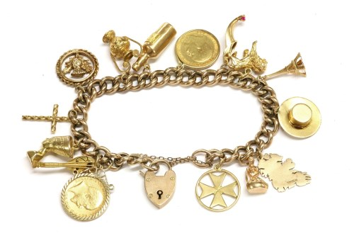 Lot 12-A 9ct gold hollow curb link charm bracelet