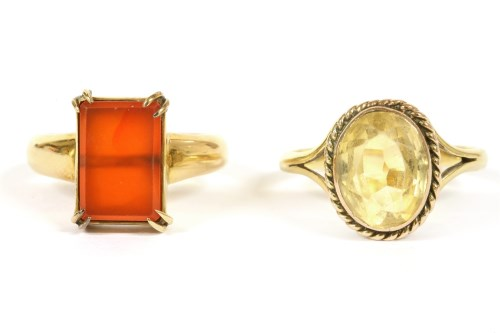 Lot 9-An 18ct gold single stone Cornelian ring