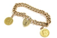Lot 73-A gold hollow curb link chain