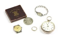 Lot 99 - A silver open faced key wound Cohen Manchester pocket watch