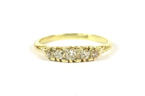Lot 67-A gold graduated five stone diamond ring
