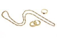 Lot 13-A 9ct gold fetter and three chain necklaces