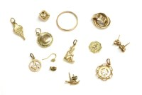 Lot 76-A collection of gold items