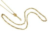 Lot 97-A gold single stone diamond fringe necklace