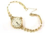 Lot 78-A ladies 9ct J W Benson London mechanical bracelet watch