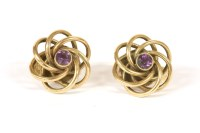 Lot 36-A pair of 9ct gold single stone amethyst twisted knot clip on earrings