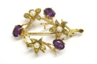 Lot 11-A 9ct gold amethyst and cultured pearl spray circle brooch