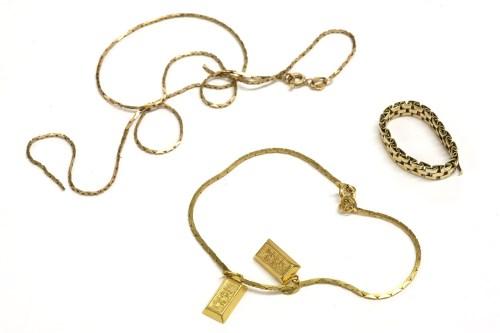 Lot 8-A gold three row brick link ring