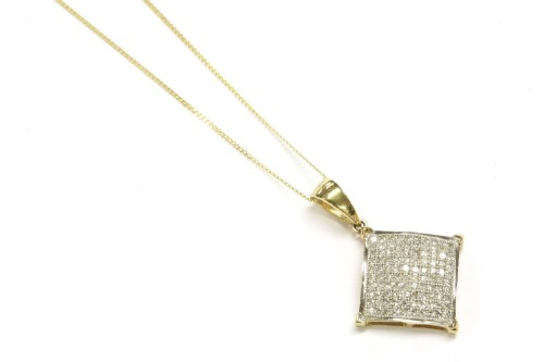 Lot 5-A 9ct gold diamond pavé cluster pendant