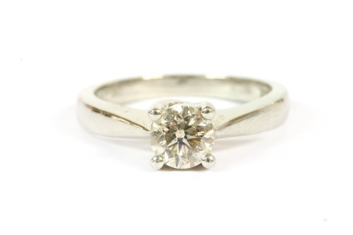 Lot 44-A platinum single stone brilliant cut diamond ring