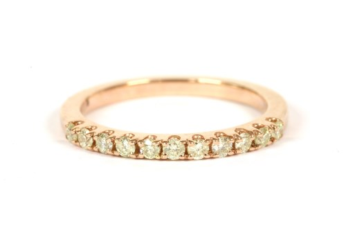 Lot 50-A rose gold diamond half eternity ring