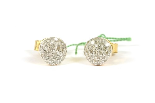 Lot 56-A pair of 9ct gold circular pavé set diamond cluster stud earrings