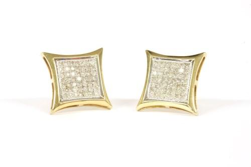 Lot 48-A pair of 9ct gold square pavé set diamond studs