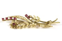 Lot 8-A gold seed pearl and ruby spray brooch