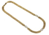 Lot 31-A 9ct two colour gold fancy link necklace