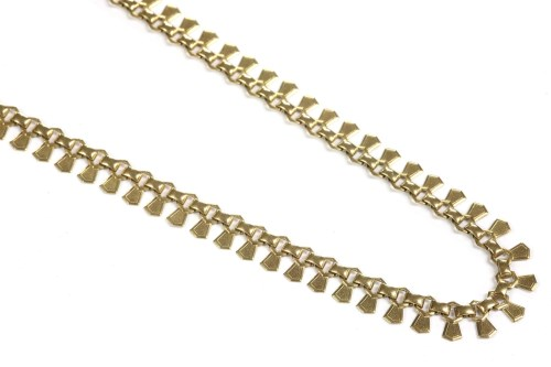 Lot 11-A 9ct gold fringe link necklace