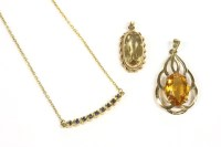 Lot 4-A 9ct gold oval citrine pendant