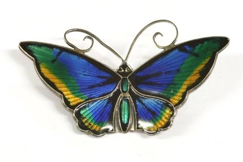 Lot 18-A sterling silver Norwegian David Andersen polychrome enamel butterfly brooch