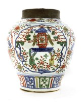Lot 25-A Chinese wucai pot