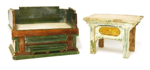 Lot 21-Two Chinese earthenware furniture models