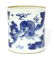 Lot 38-A Chinese blue and white brush pot