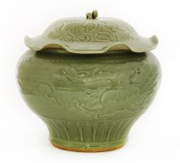 Lot 20-A Chinese Longquan ware jar and cover