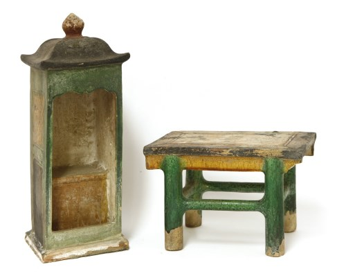 Lot 22-Two Chinese earthenware furniture models