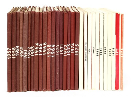 Lot 17-Kent County Cricket Club Annual (members' copy): 1957-1984. 28 volumes. 1967 and 1976-1984 are in the publisher's pictorial wrappers; the rest are the publisher's original limp cloth. All very good. P