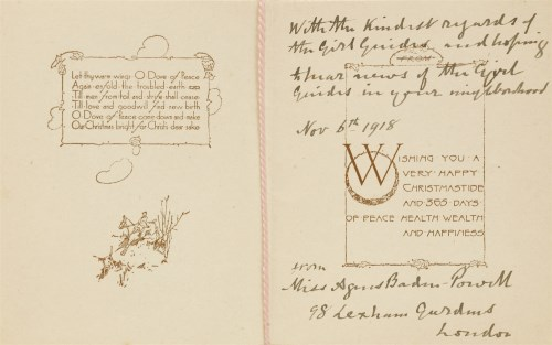 """Lot 1-Girl Guide: Agnes Smyth Baden-Powell: A SIGNED  Christmas card: """"With the kindest regards of the ..."""