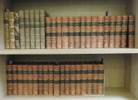 Lot 42-FINE BINDINGS: Large quantity of good 19 century full and half leather bound books including: 33 volumes of Lever's works; Rolling's  Ancient History in 6 volumes. 1859; Etc
