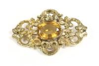 Lot 21-A Victorian single stone citrine brooch