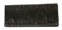 Lot 1079 - A Leatherock USA snakeskin effect patent leather clutch handbag