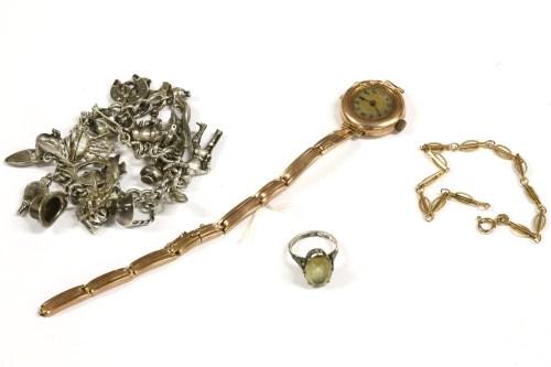 Lot 27-A 9ct gold bar and hoop bracelet