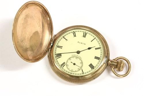Lot 26-A rolled gold Elgin hunter pocket watch