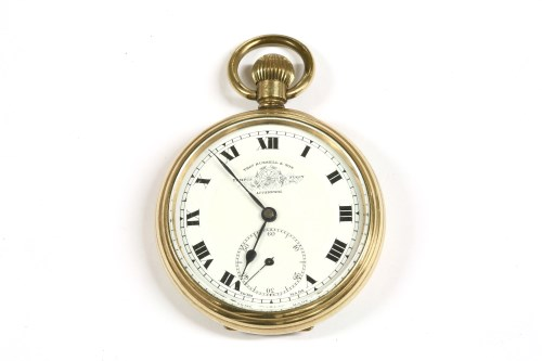 Lot 24-A rolled gold open faced pocket watch