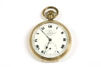 Lot 24 - A rolled gold open faced pocket watch