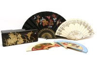 Lot 77 - A Chinese black lacquered fan box and cover