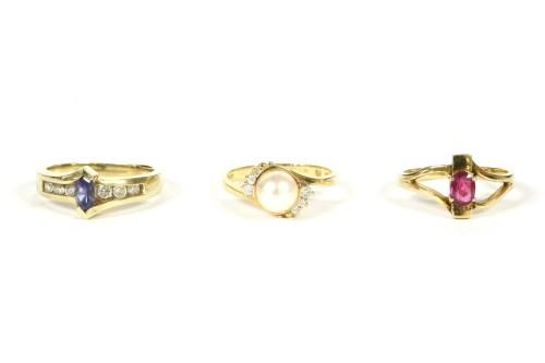 Lot 45-An American gold Zabco tanzanite and diamond ring