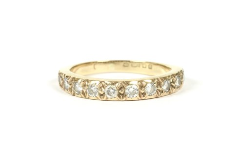 Lot 11-A 9ct diamond half eternity ring