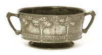Lot 70 - A Liberty & Co. Tudric pewter twin-handled bowl