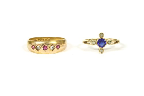 Lot 22-A late Edwardian gold blue doublet ring with four simulated pearls