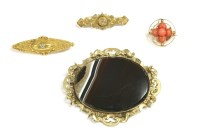 Lot 52 - A Victorian 15ct gold single stone diamond brooch