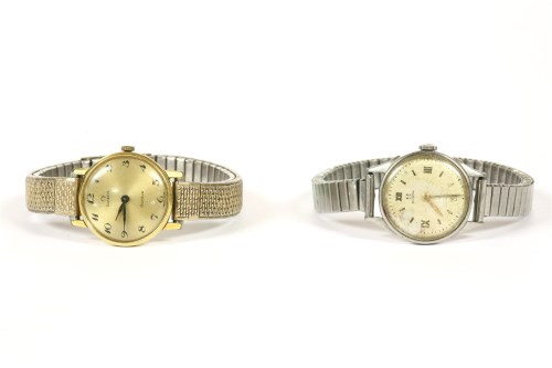 Lot 42-A ladies gold plated Omega mechanical bracelet watch