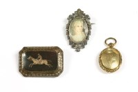 Lot 12 - A tortoiseshell pique work brooch set with a racehorse and jockey
