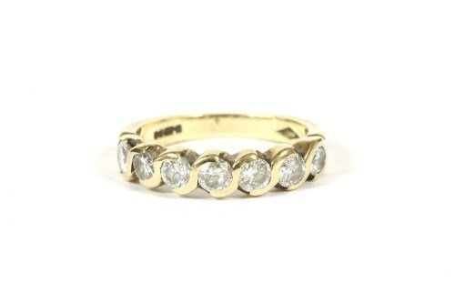 Lot 8-A 9ct gold five stone diamond half eternity ring