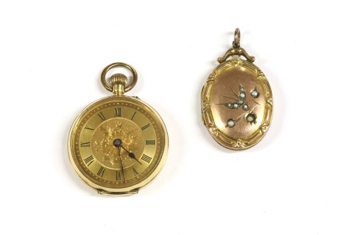 Lot 18-A gold Continental open faced fob watch