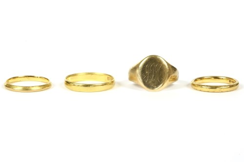 Lot 7-Three 22ct gold wedding rings