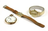 Lot 10-A gentlemen's Art Deco 9ct gold Laco mechanical strap watch